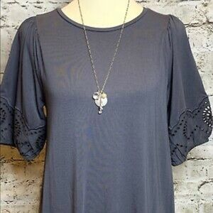 LOFT Dark Gray Shift Dress with Puff Lacy Sleeves